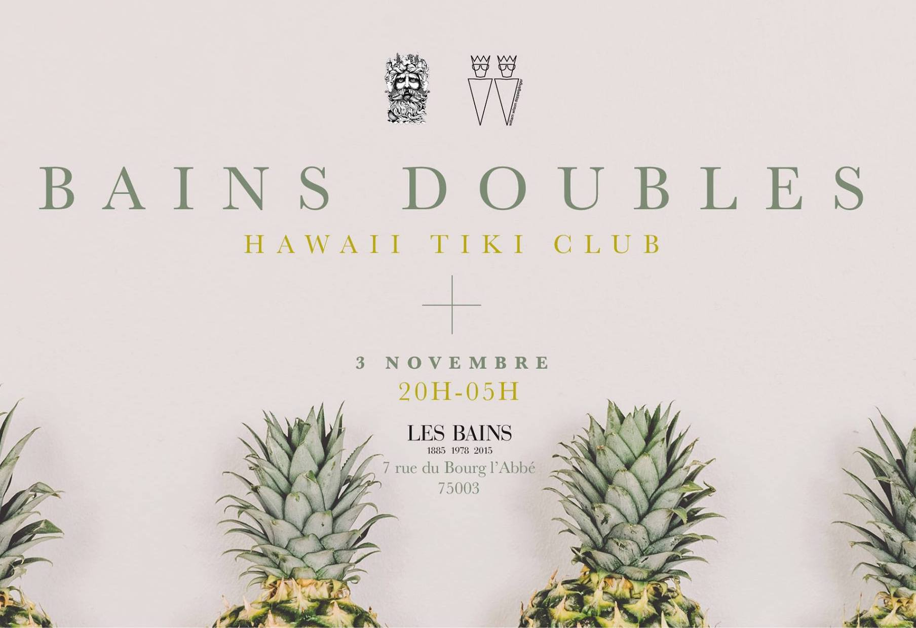 Invitations for the Hawaii Tiki Club party at Les Bains – November 3rd